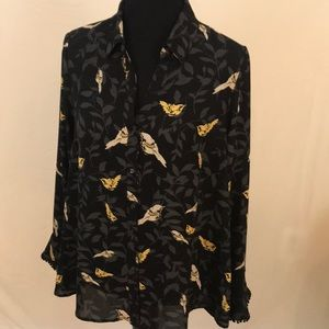 Charter club floral flirty black/grey/yellow